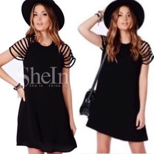 Black Cut Out Caged Sleeves Swing Skater Dress S